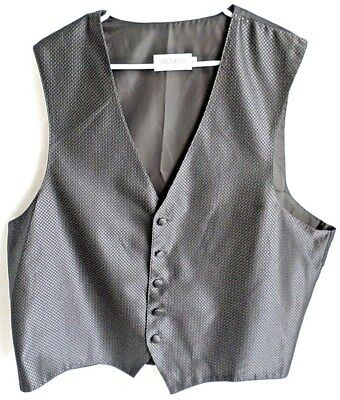 JOSEPH & FEISS Mens Vest Waistcoat Size XL Black Brocade Five Button Adjustable