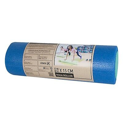 PE FOAM ROLLER BLUE/GREEN 45x15cm – YOGA, FITNESS, PILATES, GYM, MASSAGE, PHYSIO