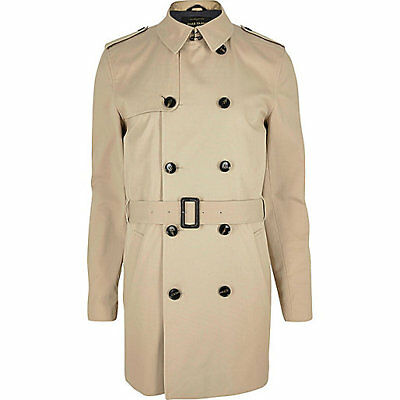 NEW MENS River Island DOUBLE BREASTED TRENCH COAT MAC JACKET  Size XS- L RRP £70