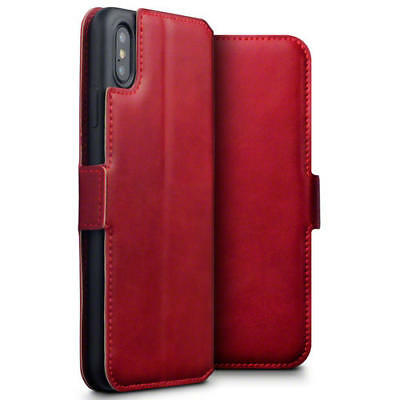 Terrapin Low Profile Genuine Leather Stand Wallet Case for iPhone XS Max - Red