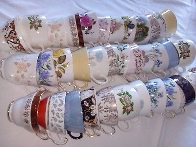 Job Lot of 10 Vintage Pretty Bone China Tea Cups great for Weddings, Tearooms