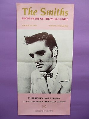The Smiths Shoplifters of the World ORIGINAL 1987 PROMO POSTER Rough Trade Elvis