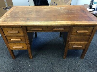 Twin pedestal antique vintage oak school teachers desk c1950