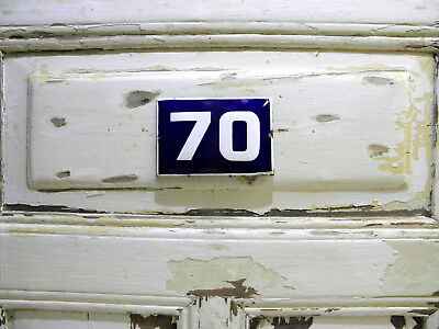 Vintage Sign House Door Number 70, Blue and White Enamel Metal Plate Authentic