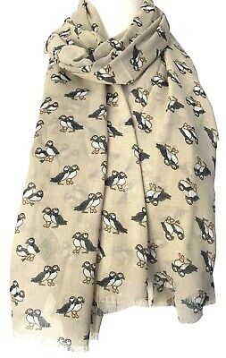 Puffin Scarf Ladies Blue Puffins Shawl Cute Large Navy Bird Print Wrap Birds