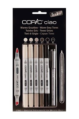 Copic Ciao Marker 5+1 Set Warme Grautöne Multiliner Hobbymarker Grafikmarker
