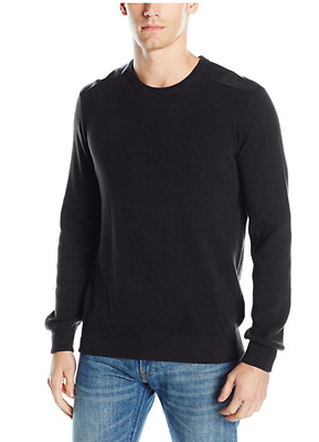 Kenneth Cole Reaction Mens Mixed-Media Sweater-Jacket Black Size Large