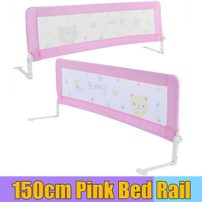 Kids Baby Cot Child Safety Bed Rail Bed Guard Protection Folding Bedrail Pink