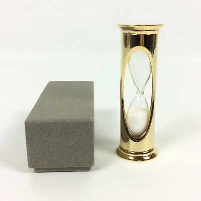 AITG 3 Minute Sand Game Egg Timer Shiny Brass Coated Goldtone Metal New In Box