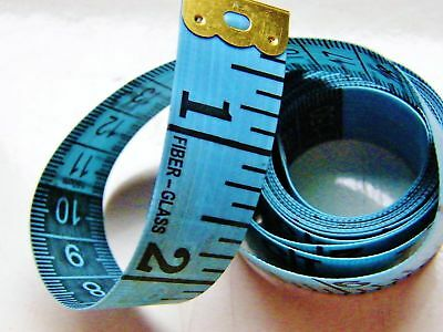 """Twin-Scale Tailor's Tape Measure, Length 150 cm 60"""", Soft and Strong, in Blue"""