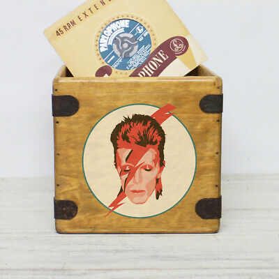 "David Bowie Heroes Record Box 7"" Single Box Vintage Vinyl Crate"