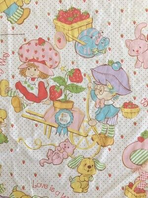 Vintage Strawberry Shortcake TWIN BED FLAT SHEET Fabric Material