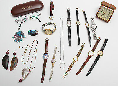 Junk drawer jewelry, watches, necklaces, earrings, glasses