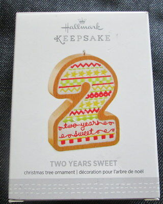 Hallmark Two Years Sweet Christmas Ornament wood fabric 2016 Child age or 2nd
