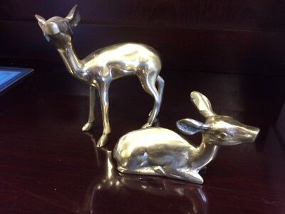 Pair of Vintage Brass Deer Figurines Statuettes Doe and Fawn Cabin Woodland