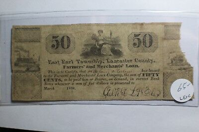 1838 50 Cents East Earl Township Lancaster pa Farmers Land Note