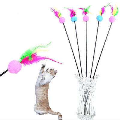 Funny Kitten Play Length Interactive Fun Toy Cat Teaser-Wand Pet Feather Xmas Sz