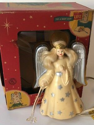 Vintage 1940's Hard Plastic Noma Angel Christmas Tree Topper Star Wand & Light