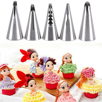 5pcs Russian Tulip Icing Piping Nozzles Tips Pastry Cake Decor Baking Tools Sz