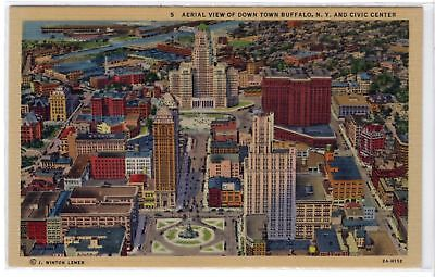 Aerial View of Downtown Buffalo NY and Civic Center vintage linen postcard
