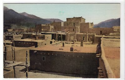 Taos Pueblo South House Taos New Mexico vintage hand colored postcard unused