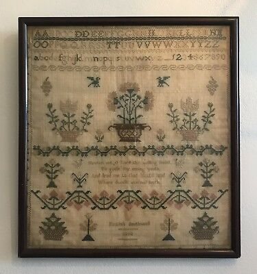 Antique Early Victorian 19th Century Needlework Sampler Keziah Southwell 1840
