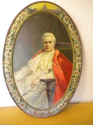 ROMAN CATHOLIC POPE PIUS X - Antique Tin Lithograph Plaque Picture - Rare!