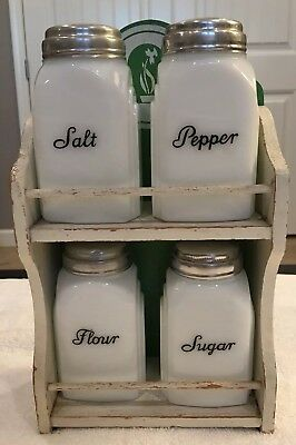 Vintage Milk Glass set of 4: Salt, Pepper, Flour, Sugar with wooden holder. Orig