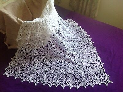 Brand -new white hand knitted square lace  shawl/blanket