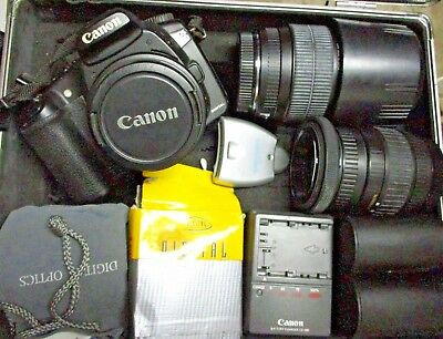 Canon EOS 20D Camera With Extras Lenses 55mm 58mm Digital Optics Case. Nice!