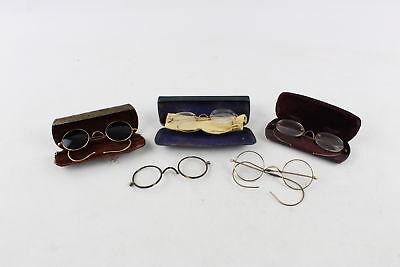 5 x Assorted Antique / Vintage Glasses & Sunglasses Inc. Rolled Gold & Cased
