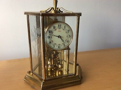Vintage Kundo 400 Day Anniversary Brass & Etched Glass Lantern Clock Mirror Back