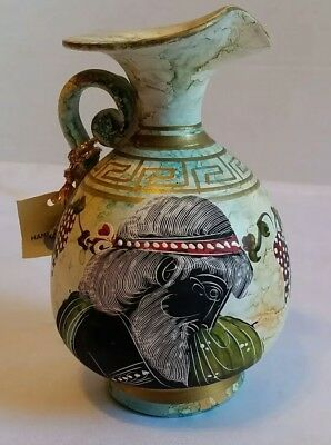 "Dionysus Greek God Of Wine Grapes Museum Replica Hand Painted Pottery Jug 6"" in"