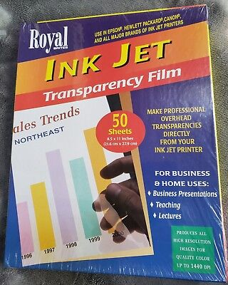 "Royal Brites Inkjet Overhead Transparency Film 50 Sheets 8.5"" x 11"" Clear SEALED"