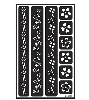 Armour Etch Over N Over Reusable Stencil Floral Borders Self Stick Glass Etching