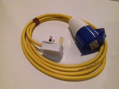 CARAVAN / MOTORHOME 3M ELECTRIC HOOK UP CONVERTER 13 to 16A YELLOW ARCTIC CABLE