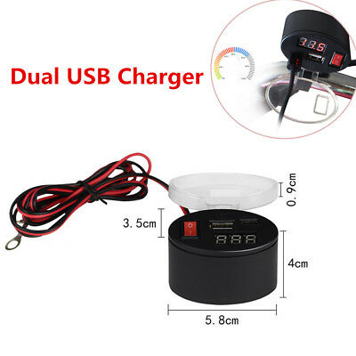 3A Dual USB Charger Socket Voltmeter Cigarette Lighter Power Bank Motor 3V-12V
