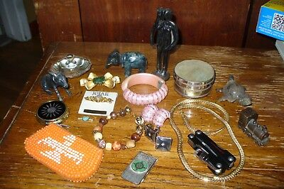 Vintage Junk Drawer Lot old Bobble Animals Jewelry Collectibles and more