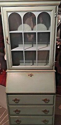 Vintage Custom Hand Painted Curio and Secretary Desk by Jasper Cabinet
