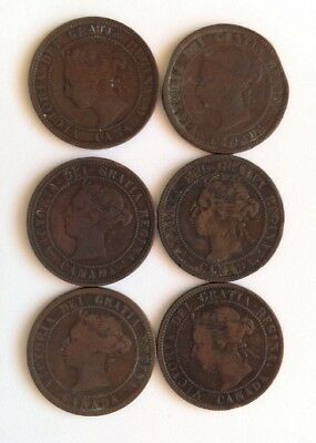 Lot of 6 Canadian Large Cent Victoria 1881, 1882, 1888, 1895, 1900, 1901.