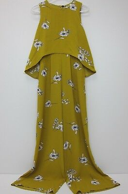 fd359f219499 Nasty Gal Women s Double Layer Wide Leg Floral Jumpsuit US 4 Mustard NWT