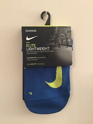 Nike Elite Lightweight Socks 'No Show Tab' Running, Dri-Fit Tech. Size UK 5-6.5