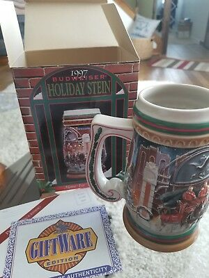 "Anheuser Busch Budweiser ""Home For The Holidays"" 1997 Holiday Stein"