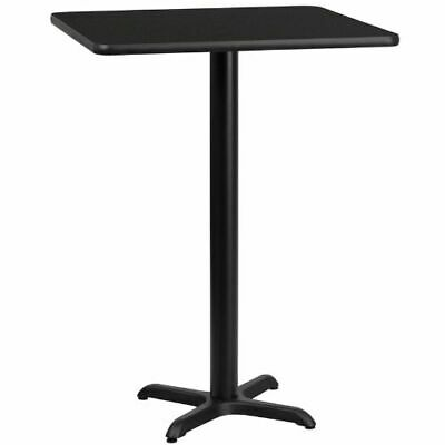 24'' Square Black Laminate Table Top with 22'' x 22'' Bar Height Table Base FLAX