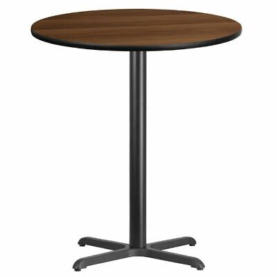 36'' Round Walnut Laminate Table Top with 30'' x 30'' Bar Height Table Base FLAX