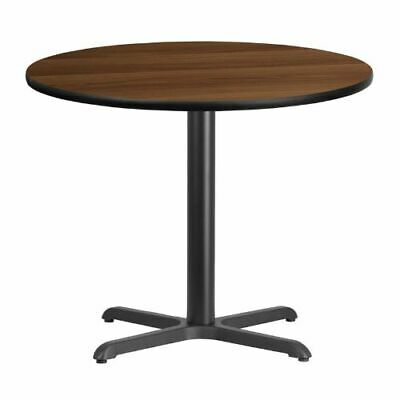 36'' Round Walnut Laminate Table Top with 30'' x 30'' Table Height Base FLAXURD3