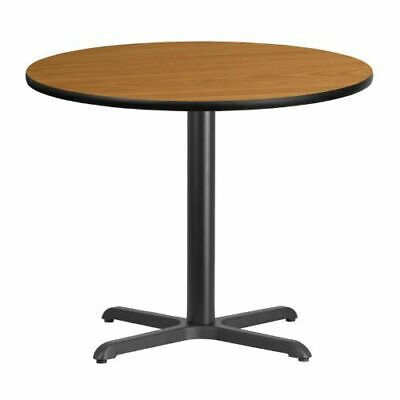 36'' Round Natural Laminate Table Top with 30'' x 30'' Table Height Base FLAXURD