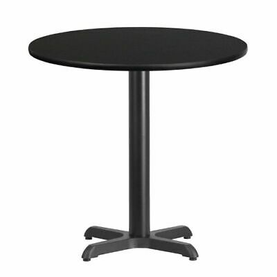 30'' Round Black Laminate Table Top with 22'' x 22'' Table Height Base FLAXURD30
