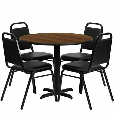 36'' Round Walnut Laminate Table Set with 4 Black Trapezoidal Back Banquet Chair