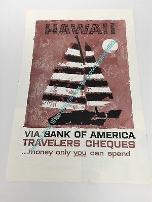 Hawaii Bank of America Travelers Cheques Vintage Sailing Travel Ad 1958